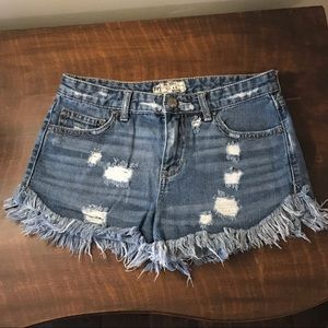 Free People Denim Distressed Shorts